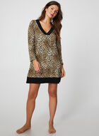 Leopard Print Nightgown, Brown, hi-res