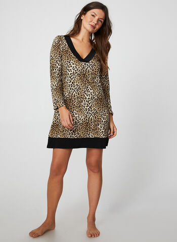 Leopard Print Nightgown, Brown,  canada, nightgown, sleepwear, pyjama, leopard print, print nightgown, fall 2019, winter 2019