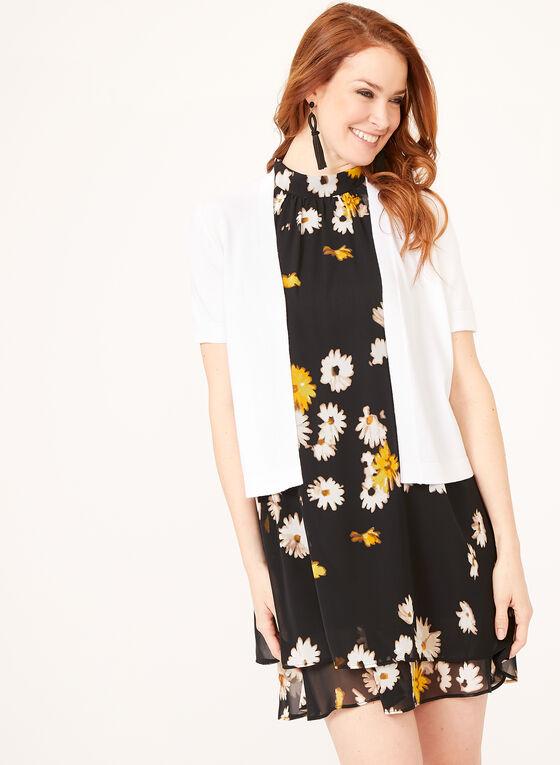 Boléro ouvert en tricot et bordures texturées, Blanc, hi-res