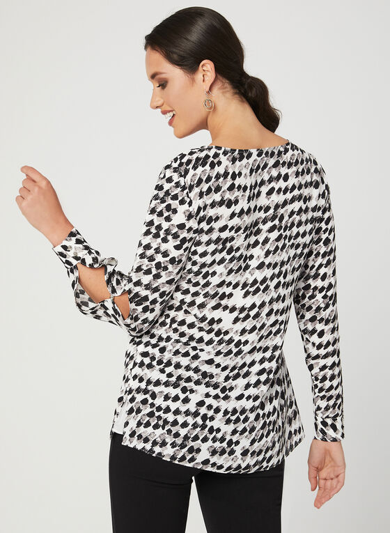 Abstract Houndstooth Print Blouse, White, hi-res