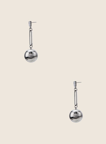 Ball Pendant Earrings, Silver,  earrings, ball, textured, stone, metallic, spring summer 2020