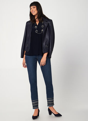 G.G. Jeans - Tribal Slim Leg Jeans, Blue, hi-res,  jeans, denim, pants, slim leg, pockets, sequins, embellishment, fall 2019, winter 2019