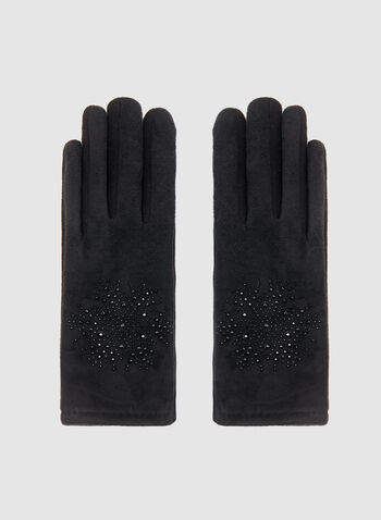 Crystal Detail Faux-Suede Gloves, Black, hi-res