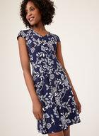 Robe ajustée et évasée à imprimé floral, Bleu, hi-res
