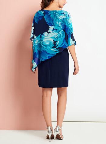 Robe poncho fleurie à épaules ajourées, Bleu, hi-res