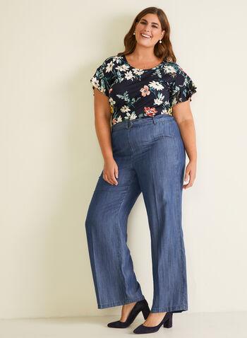 Floral Print Ruffle Sleeve Top, Multi,  top, floral, ruffled sleeves, crepe, polka dot, spring summer 2020