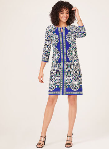 Paisley Print Jersey Dress, Blue, hi-res
