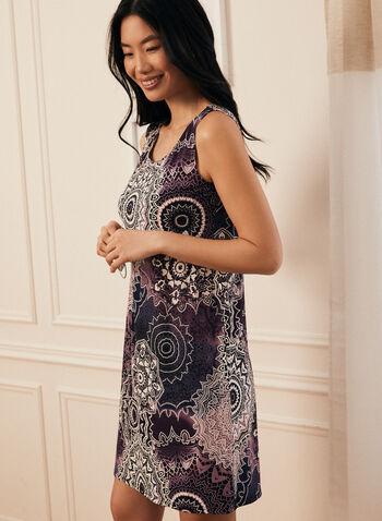 Dress & Cardigan Set , Purple,  day dress, cardigan, dress, jersey, medallion print, necklace, spring summer 2020