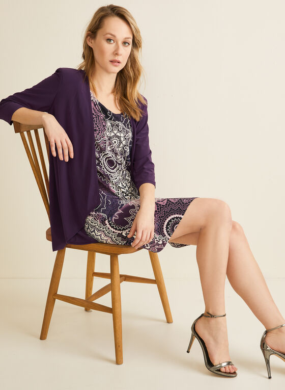 Dress & Cardigan Set , Purple