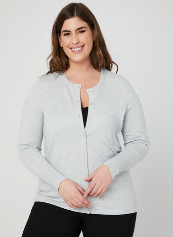 Lightweight Knit Cardigan, Silver, hi-res