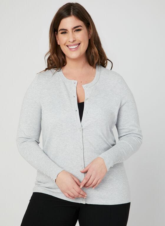 Cardigan boutonné en tricot, Argent, hi-res