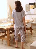 Cat Print Pyjama Set, Grey