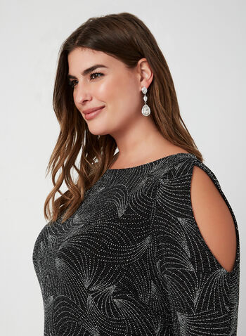 Cold Shoulder Glitter Dress, Black, hi-res,  cocktail dress, glitter, cold shoulder, long sleeves, shift, fall 2019, winter 2019