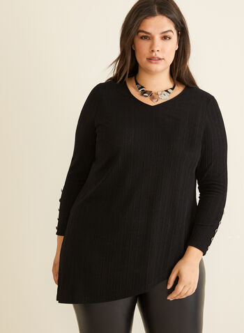 Asymmetrical Tunic Top, Black,  Canada, top, tunic, long sleeves, ribbed, V-neck, fall 2019, winter 2019