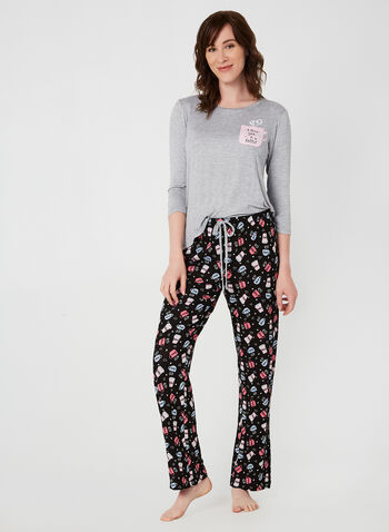 Pillow Talk - Two-Piece Pyjama Set, Grey,  Pillow Talk, pyjama, sleepwear, fall 2019, winter 2019