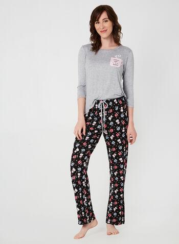 Pillow Talk - Pyjama deux pièces à motif café, Gris,  manches ¾, manches 3/4, latté, slogan, pyjama, automne hiver 2019