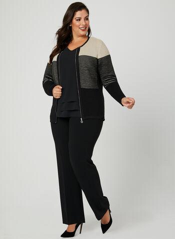 Zip Front Ottoman Knit Cardigan, Black, hi-res