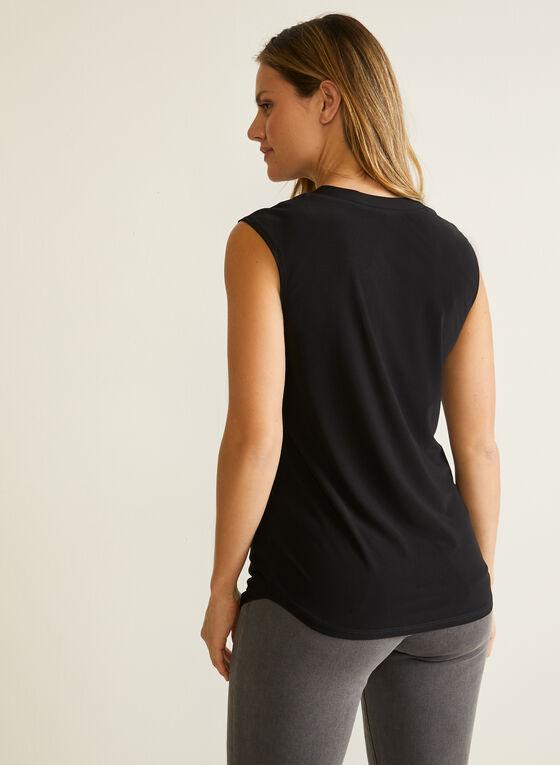 Sleeveless Cutout V-Neck Top, Black