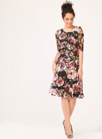 Floral Print Day Dress, Orange, hi-res