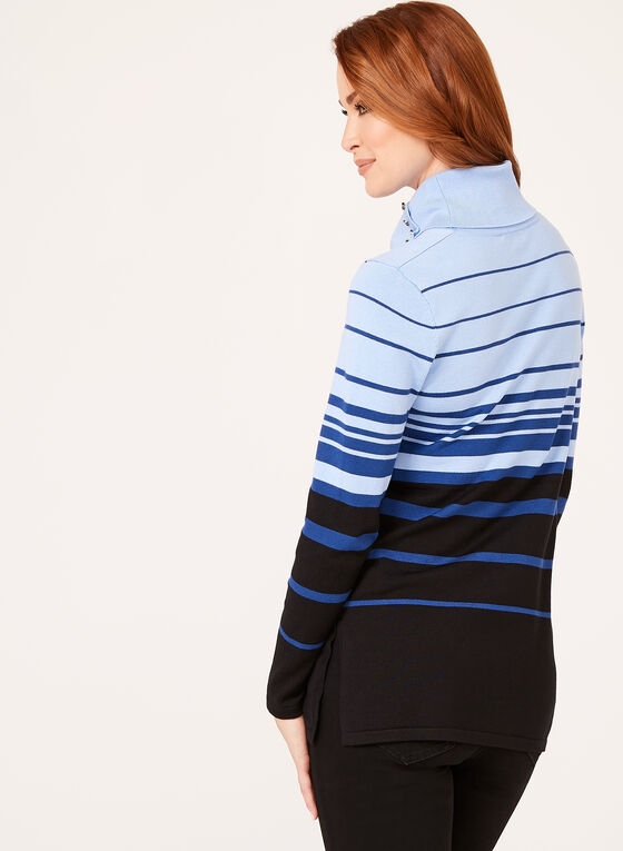 Bold Stripe Cowl Neck Sweater, Blue, hi-res