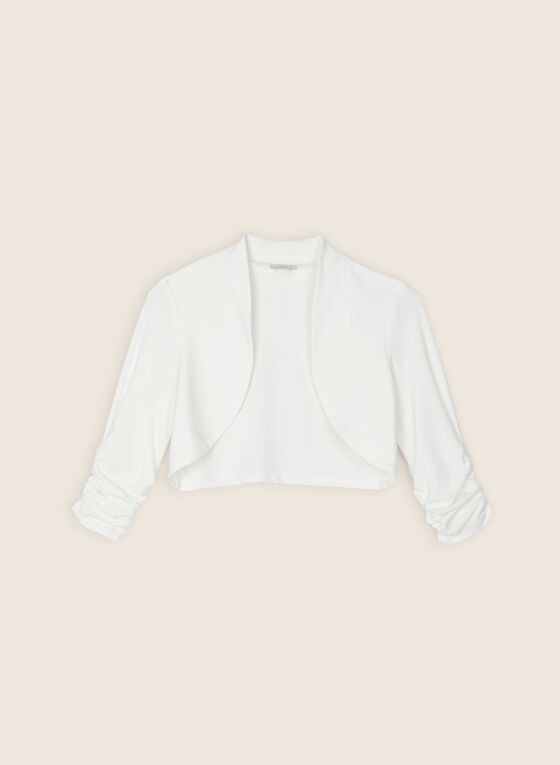 Ruched Sleeve Bolero, Off White