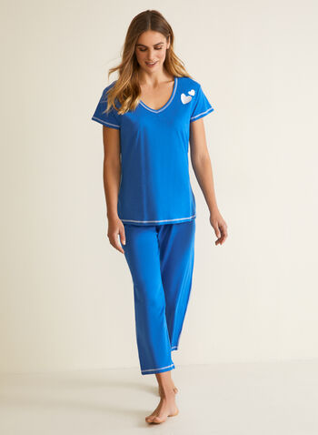 Contrast Stitch Pyjama Set, Blue,  fall winter 2020, pyjama, set, contrast