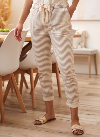 Charlie B - Stripe Print Pants, Beige,  spring summer 2021, bottoms, pants, pull on, stripes, pocketed, made in Canada
