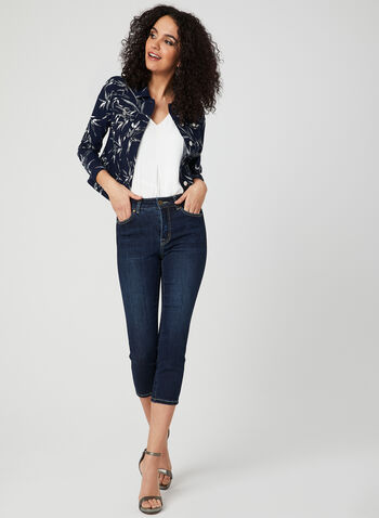 Leaf Print Jacket, White, hi-res
