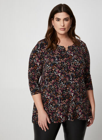 Floral Print Top, Multi,  Canada, top, floral, 3/4 sleeves, fall 2019, winter 2019