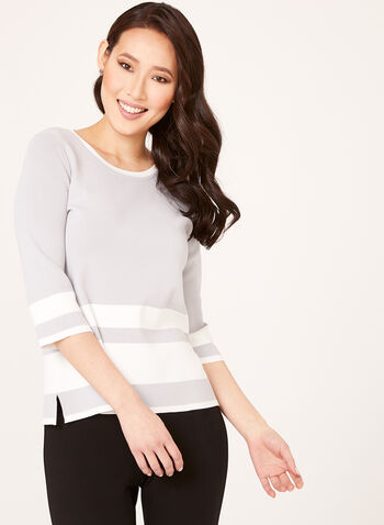 Striped Fine Knit Sweater, Grey, hi-res