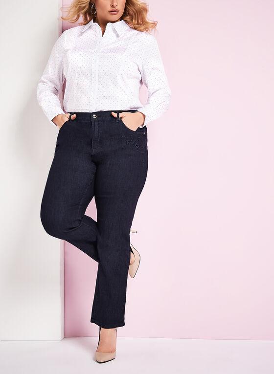 Simon Chang Straight Leg Jeans, Blue, hi-res