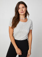 Short Sleeve Sequin Top, White