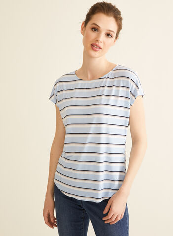 Chambray Stripe Print Top, Blue,  canada, top, stripe print, printed top, print, chambray, drop shoulder, short sleeve top, spring top, spring 2020, summer 2020