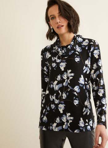Floral Print Top, Black,  Canada, top, long sleeves, funnel neck, floral print, fall 2019, winter 2019