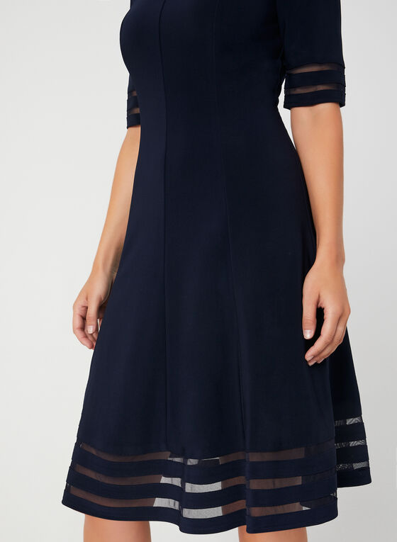 Illusion Fit & Flare Dress, Blue