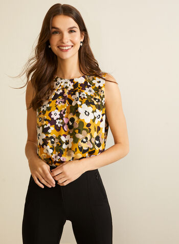 Floral Print Pleated Blouse, Yellow,  fall winter 2020, top, sleeveless, round neck, pleats, pleated, floral