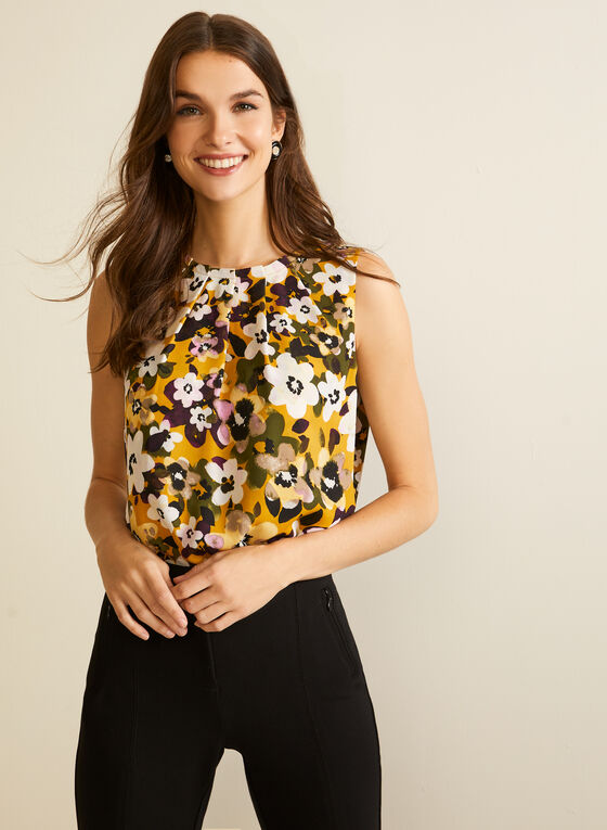 Floral Print Pleated Blouse, Yellow