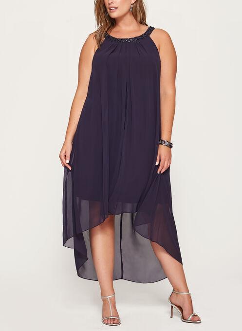 Beaded Cleo Neck Dress, Purple, hi-res