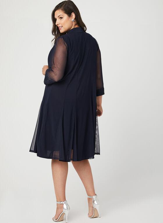 Robe et cardigan avec détails dentelle et maille filet, Bleu, hi-res