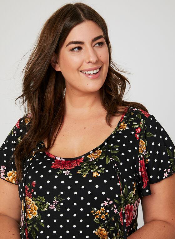 Floral Print Pajama Set, Red, hi-res
