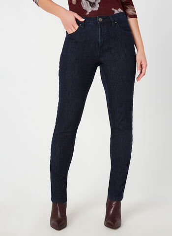 Simon Chang - Signature Fit Straight Leg Jeans, Blue,  jeans, straight legs, denim, simon chang, pockets, fall 2019, winter 2019