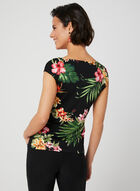 Tropical Print Mesh Top, Black, hi-res