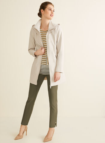 Novelti - Manteau à capuchon et ceinture, Blanc cassé,  manteau, demi-saison, double zip, ceinture, capuchon, poches, printemps été 2020