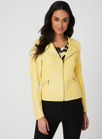 Faux Leather Jacket, Yellow, hi-res,