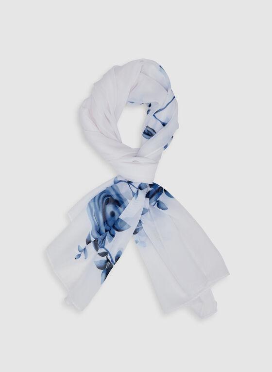 Floral Print Scarf, Blue