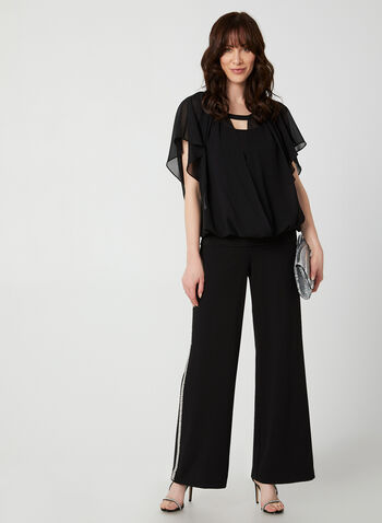 Chiffon Faux Wrap Blouse, Black, hi-res,  blouse, chiffon, top, satin, fall 2019, winter 2019