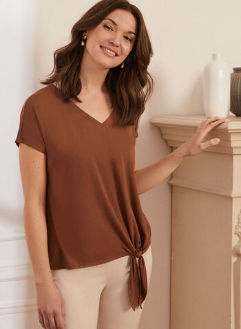 Tie Detail Tee, Brown,  spring summer 2021, t-shirt, tees, knot, knotted, tie, v neck, short sleeve