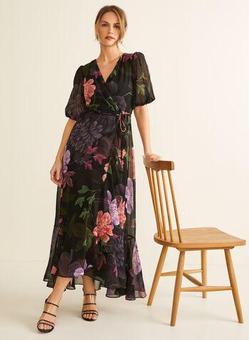 Robe fleurie en mousseline , Noir,  robe de soirée, mousseline, manches ballon, fleurs, ceinture, col croisé, printemps été 2020