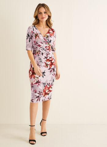 Floral Print Sheath Dress, Pink,  spring summer 2020, floral print, sheath silhouette, elbow sleeves