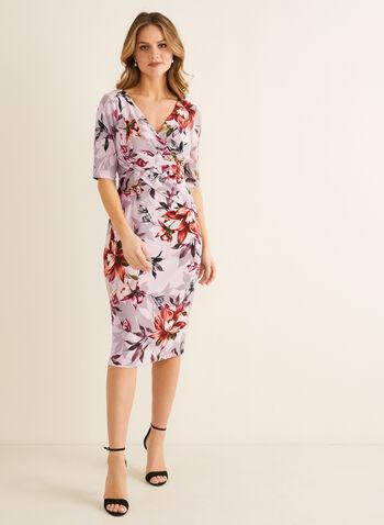 Robe fourreau fleurie à manches coude, Rose,  robe de jour, fourreau, manches coude, fleurs, jersey, croisé, printemps été 2020